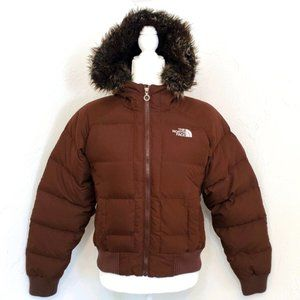 North Face Womens Small Brown Fur Puffer Jacket S